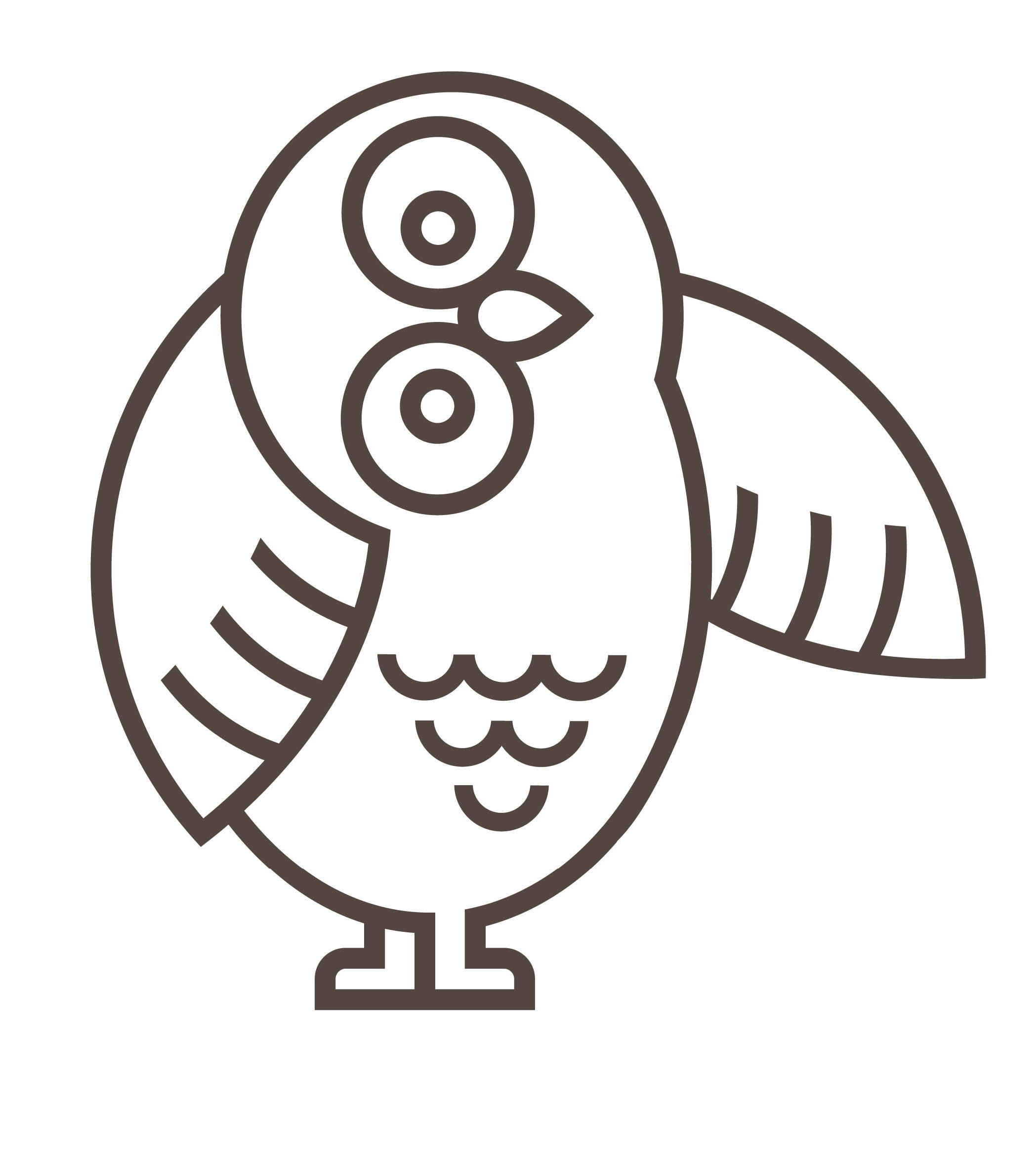 Mascot owl thinking about abstractions