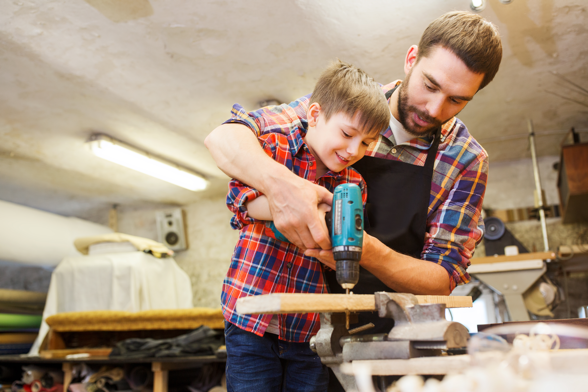 Father and Son in work shop