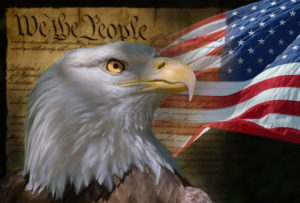 Three symbols of truth: Declaration of Independence, flag, and eagle.