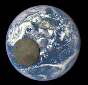 Moon with earth behind it