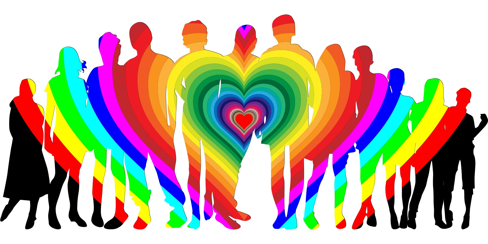 A row of 12 people in rainbow colors