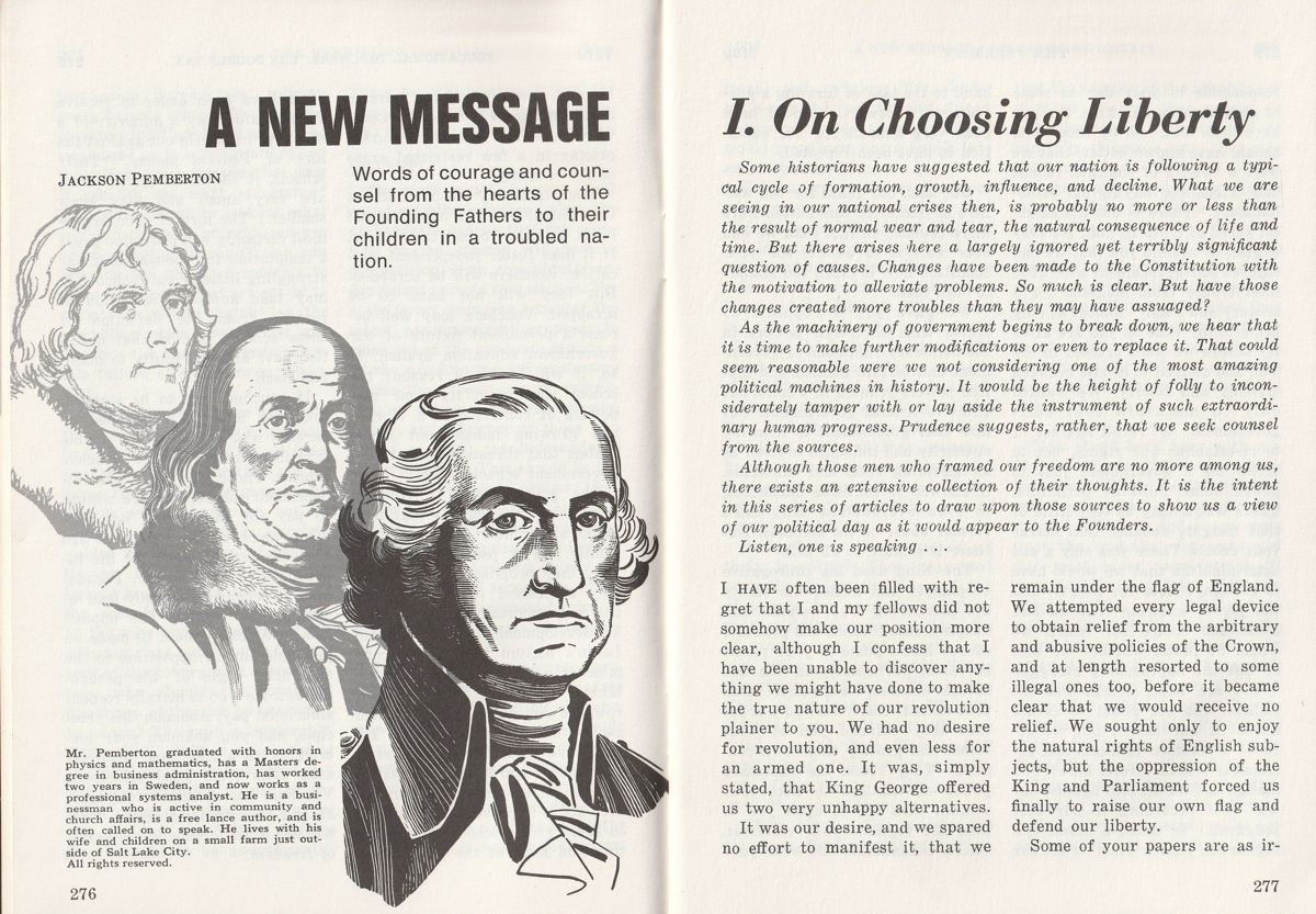 Title page of first article on A New Message series